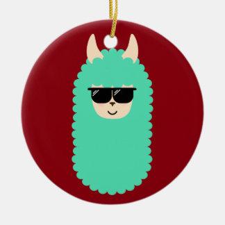 Lama frais d'Emoji Ornement Rond En Céramique
