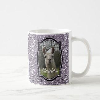 Lama lumineux de scintillement de N en lavande de Mug