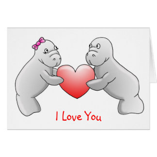 """Lamantins """"je t'aime"""" carte de voeux"""