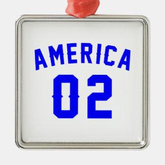 L'Amérique 02 conceptions d'anniversaire Ornement Carré Argenté