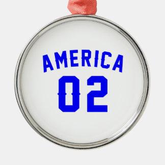 L'Amérique 02 conceptions d'anniversaire Ornement Rond Argenté