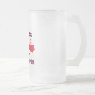 L'Amérique avec les pièces polonaises Frosted Glass Beer Mug