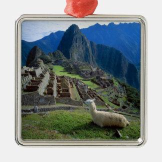L'Amérique du Sud, Pérou. Un lama se repose sur Ornement Carré Argenté