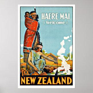 L'AMI vintage de Haere de voyage vers la Nouvelle Poster