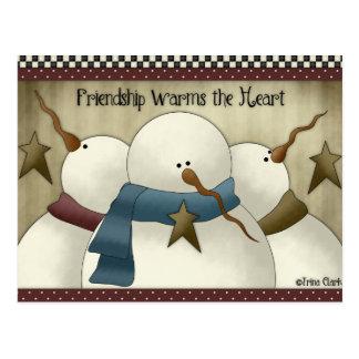 L'amitié chauffe les cartes postales de bonhommes