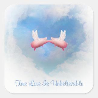 L'amour Baiser-Vrai volant de porcs est Sticker Carré