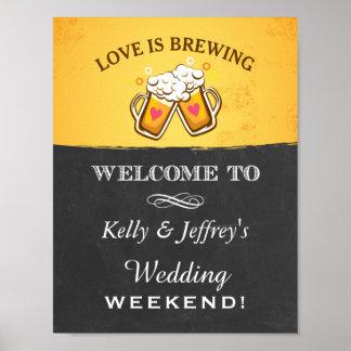 L'amour brasse le signe de mariage de brasserie poster