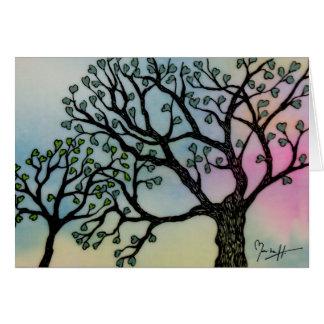 L'amour de mère - arbres sur le vélin et cartes de vœux