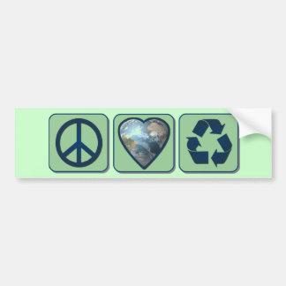 L'amour de paix réutilisent Bumpersticker Autocollant Pour Voiture