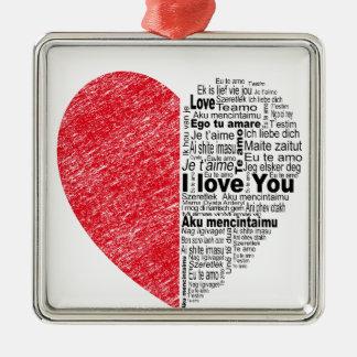 l'amour, demi de la couleur et le texte conçoivent ornement carré argenté