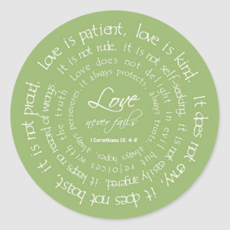 L'amour est autocollant chrétien patient de vert