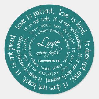 L'amour est blanc patient sur le mariage chrétien sticker rond