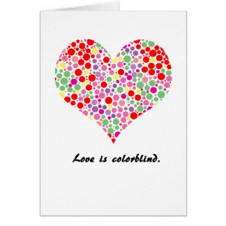 L'amour est daltonien. Carte de voeux
