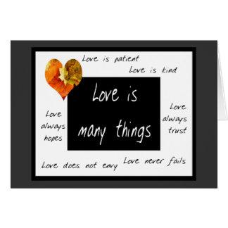 L'amour est des cartes pour notes patients