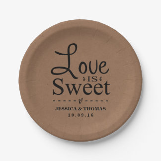L'amour est doux ! Plaques à papier de mariage Assiettes En Papier
