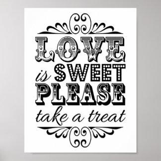 L'amour est doux - signe noir et blanc de mariage posters