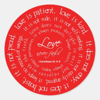 L'amour est les autocollants chrétiens rouges