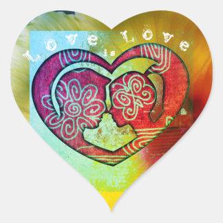 L'amour est les autocollants en forme de coeur