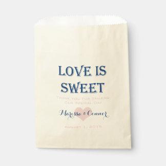 L'amour est marine douce et sacs roses de mariage