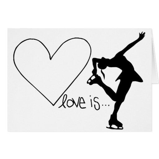 L'amour est patinage artistique, patineur de fille carte de vœux