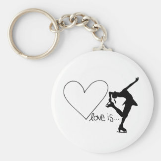 L'amour est patinage artistique, patineur de fille porte-clé rond
