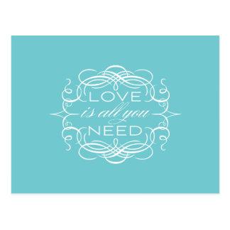 L'amour est tout que vous avez besoin de carte pos cartes postales