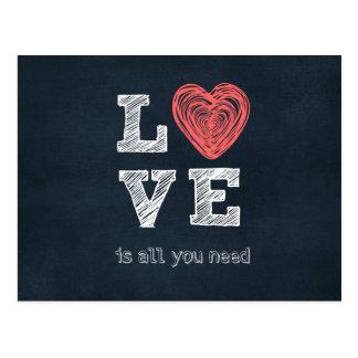 L'amour est tout que vous avez besoin de citation carte postale