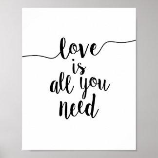 L'amour est tout que vous avez besoin de la copie affiches