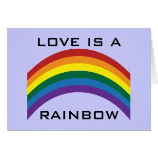 L'amour est une carte de voeux d'arc-en-ciel