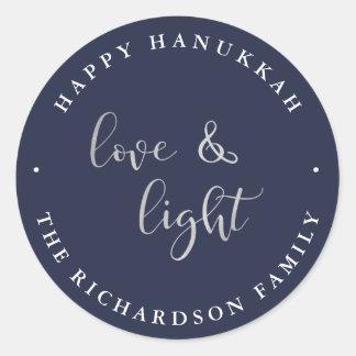 L'amour et allument | Hanoukka heureux bleu Sticker Rond