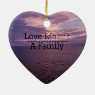 L'amour fait une adoption de famille - accueil ornement cœur en céramique