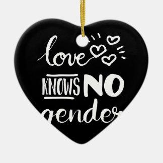 L'amour ne sait aucun genre ornement cœur en céramique