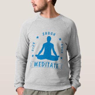 L'amour vivant de rire méditent le texte masculin sweatshirt