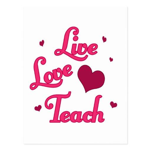L'amour vivant enseignent cartes postales