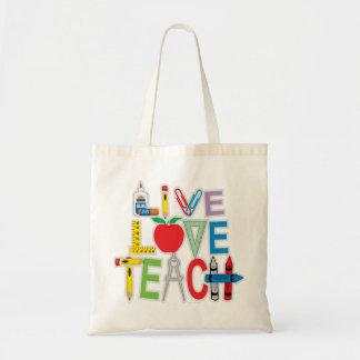 L'amour vivant enseignent sacs en toile