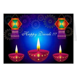 Lampes, lanternes et feux d'artifice rougeoyants carte de vœux