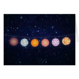 Lampions modelés et ciel étoilé carte de vœux