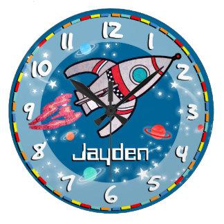 L'amusement badine l'horloge murale bleue d'aqua d
