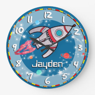 L'amusement badine l'horloge murale bleue d'aqua grande horloge ronde