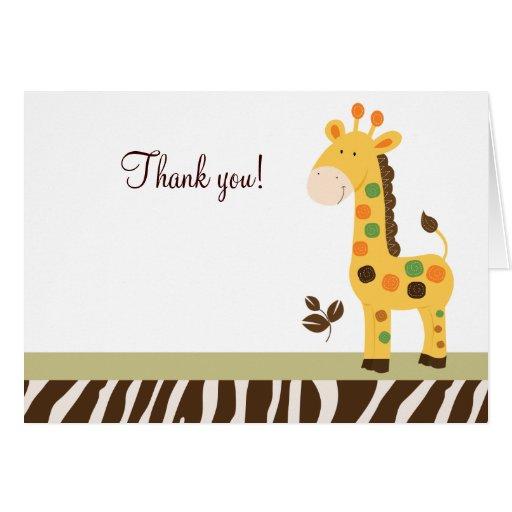 L'amusement dans la girafe de jungle a plié des cartes de vœux