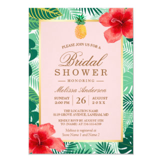 L'ananas nuptiale tropical de la douche | carton d'invitation  12,7 cm x 17,78 cm