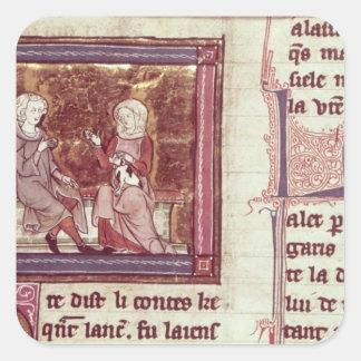 Lancelot et Guinevere se reposent et parlent Sticker Carré