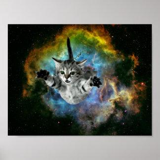 Lancement de chaton d'univers de chat de galaxie poster