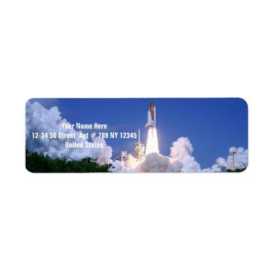 Lancement de navette spatiale étiquette d'adresse retour