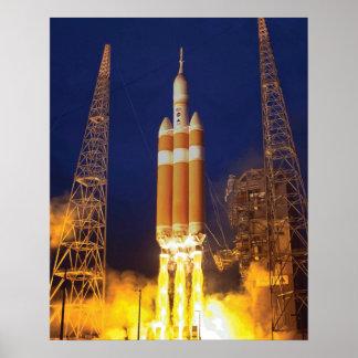 Lancement de Rocket de vaisseau spatial de la NASA Poster