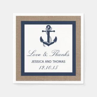L'ancre de marine sur la collection de mariage de serviette jetable