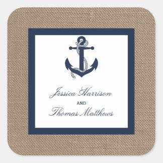 L'ancre de marine sur la collection de mariage de sticker carré