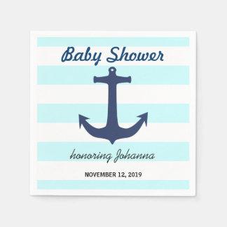 L'ancre nautique de bleu marine barre le baby serviette en papier