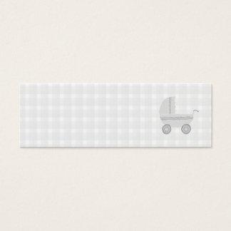 Landau gris-clair et blanc de bébé mini carte de visite