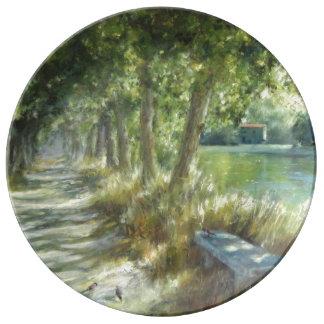 Landscape with a path close to the river poster assiettes en porcelaine